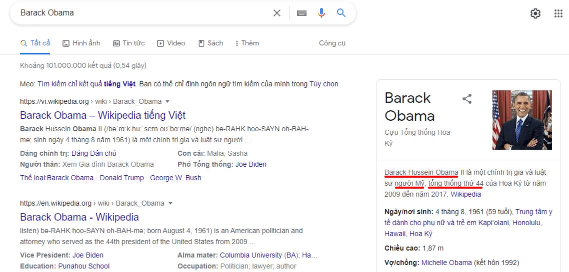 Entity trả lời theo truy vấn tìm kiếm chính xác
