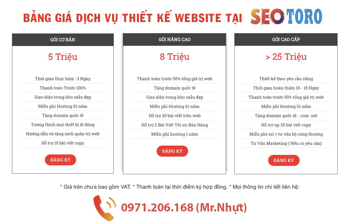 bảng giá dịch vụ thiết kế website