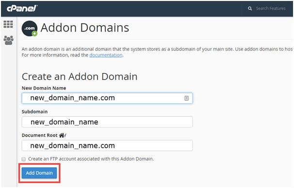 Hướng dẫn các bước thêm Addon Domain vào hosting cPanel