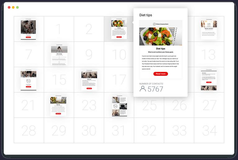 Bạn có thể thiết lập các e-newsletter dựa trên thời gian và hành động của khách hàng