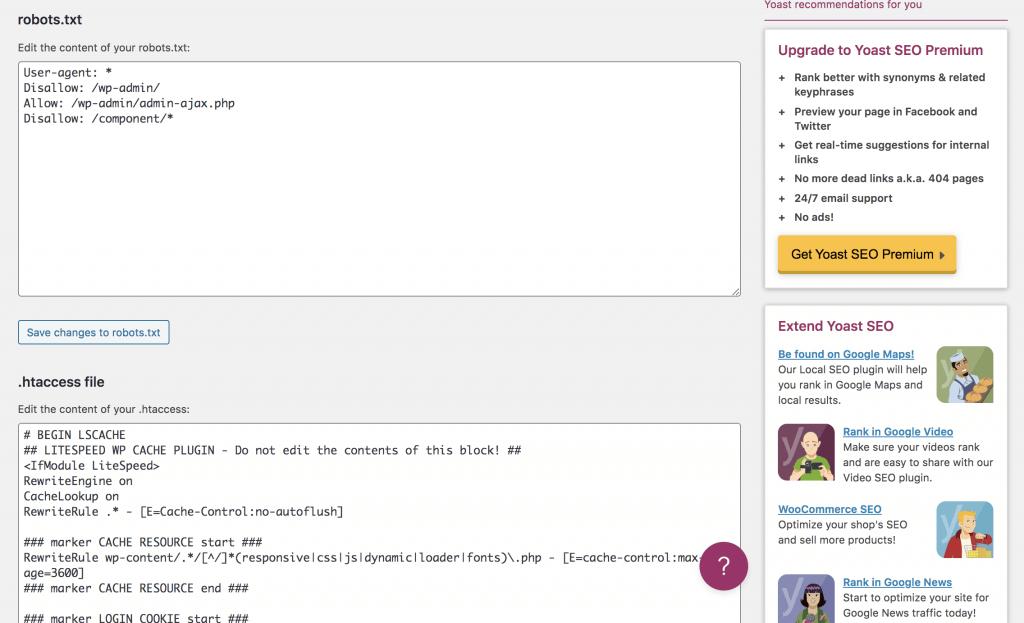 Điều chỉnh và tạo file robots.txt trực tiếp trên Yoast SEO